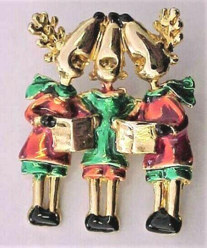Vintage Singing Reindeer Christmas Pin - Gold Tone