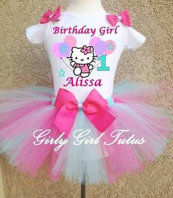 Birthday Tutu Outfit Party Dress Set Pink/Blue (Hello Kitty Tutu-outfit)