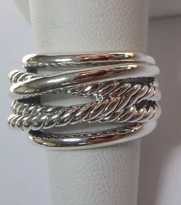 David Yurman 925 Sterling Silver Crossover Narrow Ring Band 15mm wide Size 9