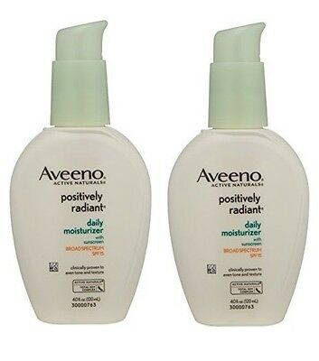 2 Pack - Aveeno Positively Radiant Daily Moisturizer, SPF 15  4oz Each Aveeno Spf 15