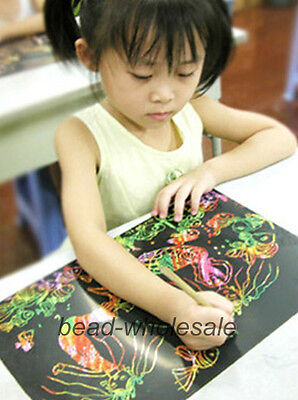 New 10 Sheet 16K Mixed Scratch Art Paper Magic Painting Paper with Drawing Stick