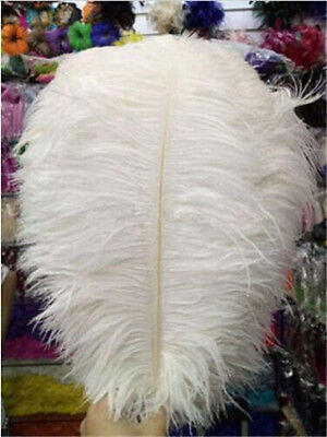 10 pcs Beautiful white ostrich feathers 25-30 cm / 10-12 inch free shipping