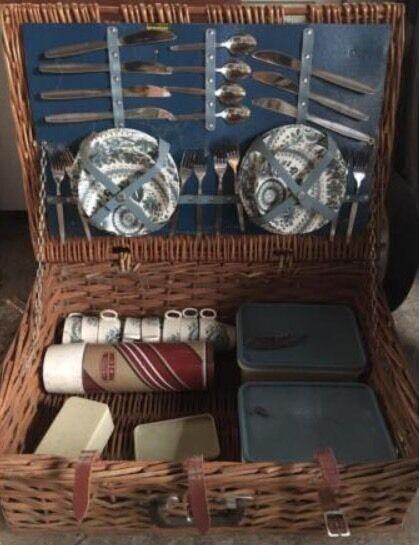 Original Vintage Brexton Picnic Hamper with Crockery & Cutlery