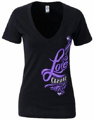 LADIES CAMARO T-SHIRT BLACK/PURPLE V-NECK CAMARO LOVE GRAPHICS S,M25.99+2XLFSNEW