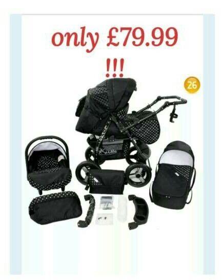 Baby pram (3in1) stroller pushchair + car seat