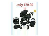 Baby pram (3in1) stroller pushchair + car seat + carrycot travel system buggy