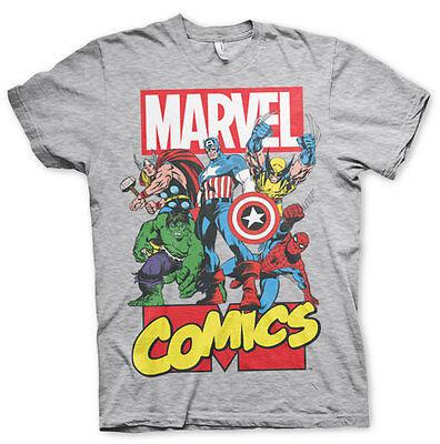 Marvel Comics Super Heroes Helden Superhelden Männer Mens T-Shirt Grau (Superhelden Shirts)
