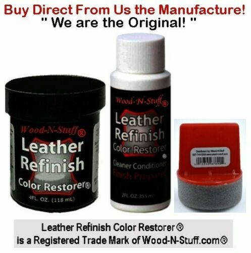 Leather Refinish Color Restorer® ~  BLACK Color ~ 3pc KIT ~ We are the ORIGINAL!