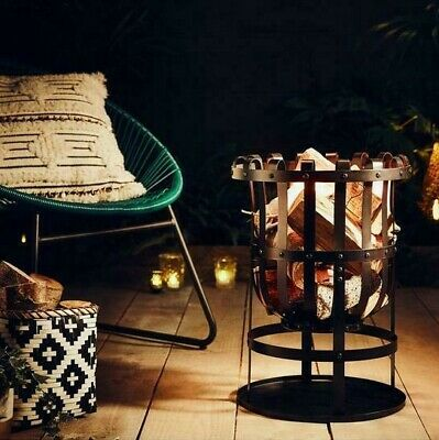 Garden Metal Fire Basket Pit Log Burner Patio Heater Summer Black FREE DELIVERY✅