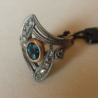 Anello Oro E Argento Antico Zaffiro E Diamanti -  - ebay.it