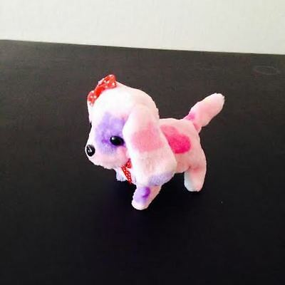 NEW KID'S BATTERY OPERATED BARKING WALKING WAGGING CUTE PINK DOT PUPPY DOG TOY