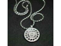 Brand new real silver Medusa style pendant