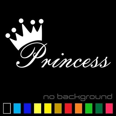 Princess Sticker Vinyl Decal Die Cut - Girl Crown Car Window Baby Wall Decor Art ()