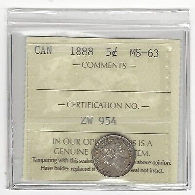 Click now to see the BUY IT NOW Price! 1888,ICCS GRADED CANADIAN  5 CENT MS 63