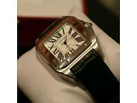 Cartier Santos Silver With Box, Papers