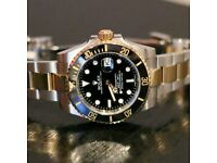 Rolex Submariner Gold Black Silver With Box, Papers