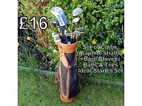 Set of Golf Clubs (graphite shafts) plus bag, gloves, balls & tees - Ideal Starter Set