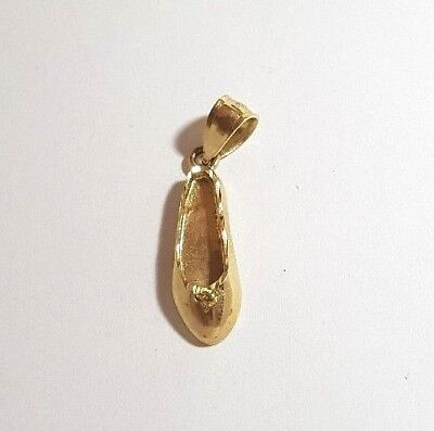 14K YELLOW GOLD BALLET SLIPPERS SHOES PENDANT CHARM