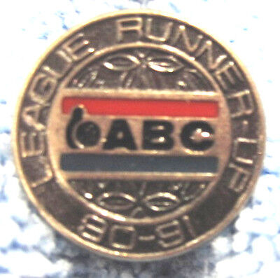 """1990-91 ABC LEAGUE RUNNER-UP"" METAL/ENAMEL TIE/HAT PUSH-BACK 10-PIN BOWLING PIN"