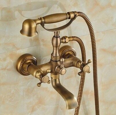 Antique Brass Wall Mounted Clawfoot Bath Tub Faucet Tap with Handshower Ktf024