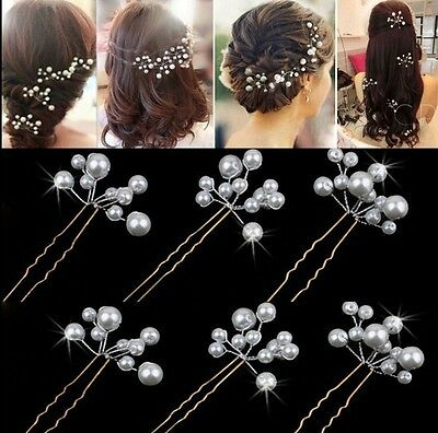 Natural Pearl Wedding Hair Pins Bridesmaid Bridal Party Clips Grips Hair Prom ()