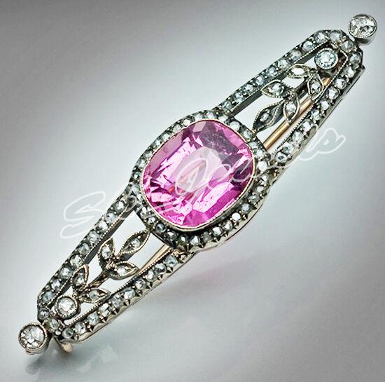 3.05ct ROSE CUT DIAMOND TOURMALINE 925 SILVER VICTORIAN LOOK VALENTINE BROOCH