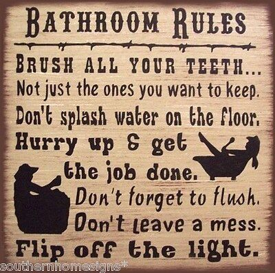 Western Bath Rules Rustic Primitive Country  Wood Sign Home Decor (Country Western Decorations)