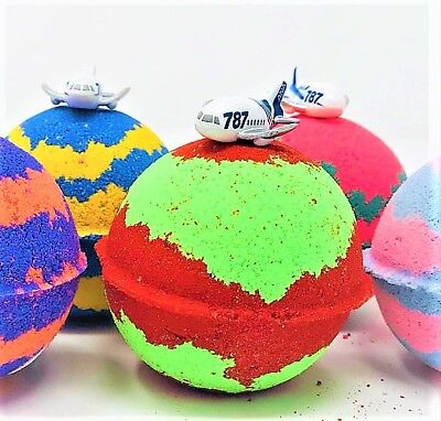 Airplane Kids Bath Bomb Party Favor Set with Surprise Airplane Toy Figure Inside - Bomb Party