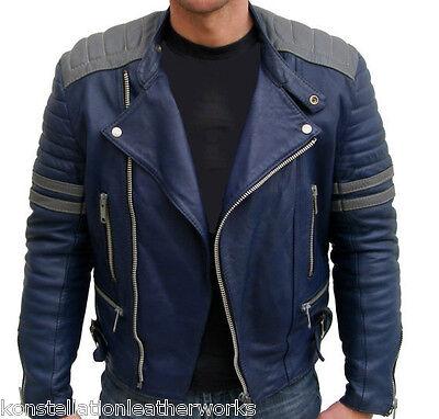 New Fashion Designer Motorcycle BLUE COLOR DASHING LEATHER JACKET MENS M644