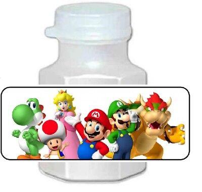 30 Super Mario Bros Birthday Party Bubble Labels  - Super Mario Birthday Party