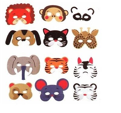 12 Assorted Foam Animal Masks For Birthday Party Favors, Dress Up Costume, Fun