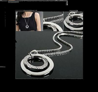 Gift Women Fashion Crystal Rhinestone Silver Plated Long Chain Pendant Necklace