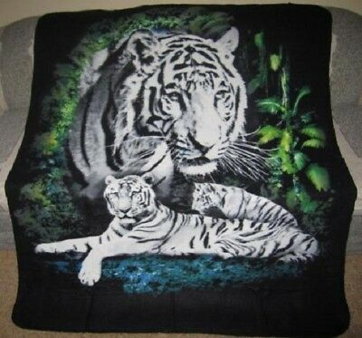Bengal Blanket - New White Bengal Jungle Tiger Fleece Throw Gift Blanket Big Cats Decor WARM NIP