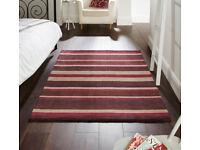 pink striped cotton rug 120 x 170cm