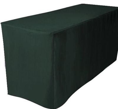 8 Ft. Fitted Polyester Table Cover Trade Show Booth Dj Tablecloth Hunter Green
