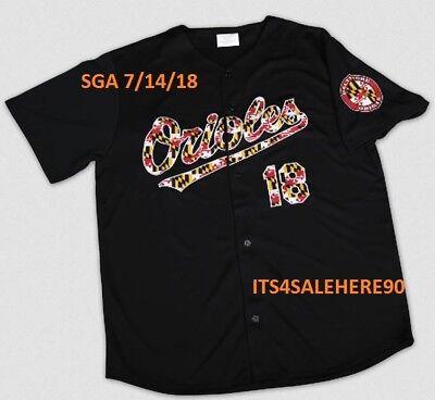 Black Orioles Jersey - MLB Baltimore Orioles Black 2018 FLAG SCRIPT JERSEY Size Mens XL SGA 7/14/18