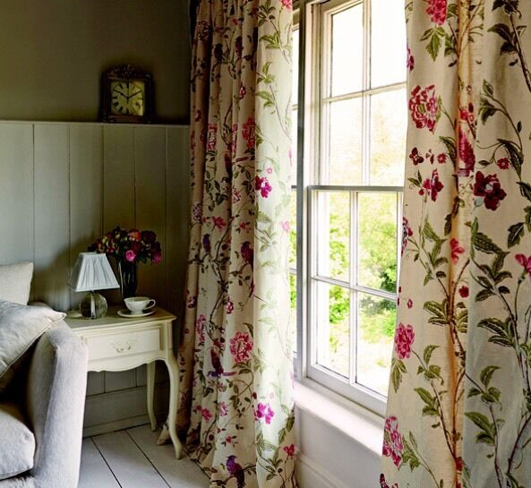 LAURA ASHLEY Summer Palace Cranberry Pair Of Curtains Long 223cm X 229cm Fully Lined