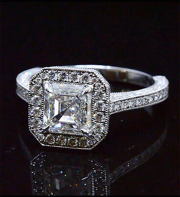 New 2.35Ct Asscher Cut Diamond Halo Pave Milgrain 14K Engagement Ring H,VVS2 GIA