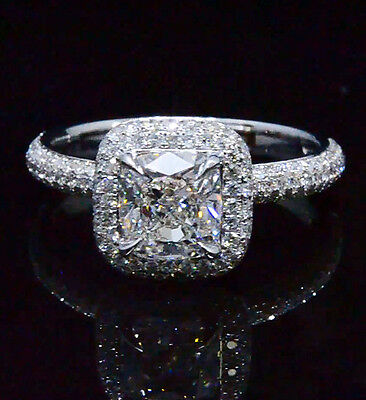 Lovely 2.08 Ct Cushion Cut Diamond Halo Micro Pave Engagement Ring 14K GIA I,VS2