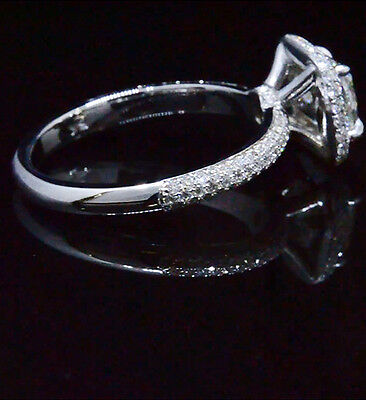 Lovely 2.08 Ct Cushion Cut Diamond Halo Micro Pave Engagement Ring 14K GIA I,VS2 1