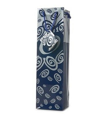 Wine Or Champagne Gift Bag - Blue & Silver (Silver Gift Wine)