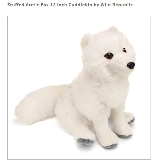 Brand New 12'' Arctic Fox Plush Stuffed Animal by Wild Repub