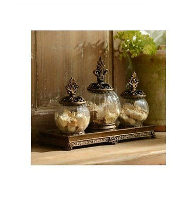 3 Piece Apothecary Jars Set Glass Resin Buffet Table Decor With Lid And Tray NEW