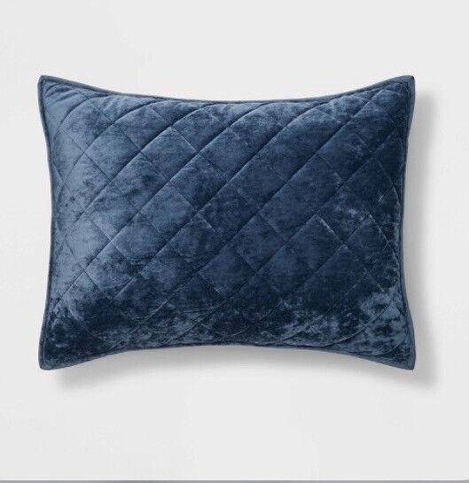 Threshold Warm Blush Diamond Stitch Velvet Quilted Standard Sz Sham NWT 🆓📬