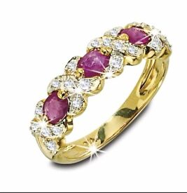 Ruby and Diamond Kiss 9ct Ring - NEW