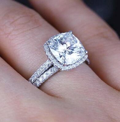 2.28 Ct Cushion Cut Diamond Halo Engagement Ring & Band Set G,VS1 GIA 14K