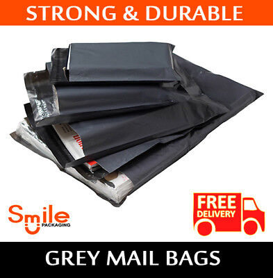 100 Mixed Pack Grey Mailing Postal Bags 55mu - 25 Each Of 6x9 9x12 10x14 12x16
