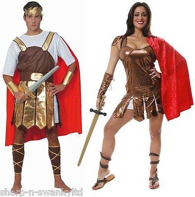Gladiator Couples Costumes (Couples Mens Ladies Roman Warriors Gladiators Toga Fancy Dress Costumes)
