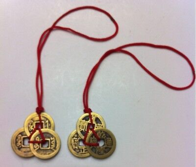 FENG SHUI 3 THREE I-CHING COINS TIED WITH RED RIBBON 2S