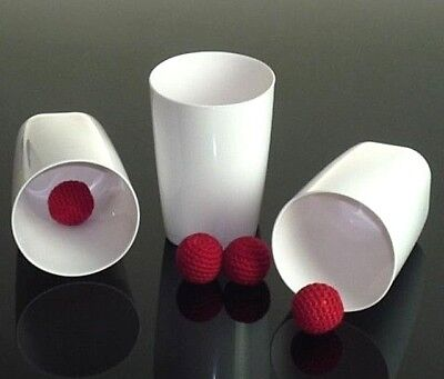 CUPS AND BALLS & CHOP CUP PORCELAIN WHITE PLASTIC +EXTRAS & FREE DAI VERNON BOOK Chop Cup Balls